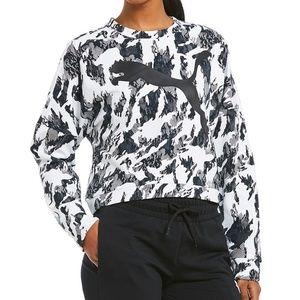 Puma Black White REBEL Crew Cropped Sweatshirt XL